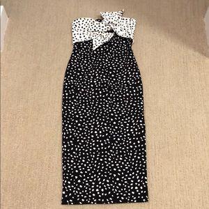 Topshop Strapless Midi Polka Dot Dress With Bow